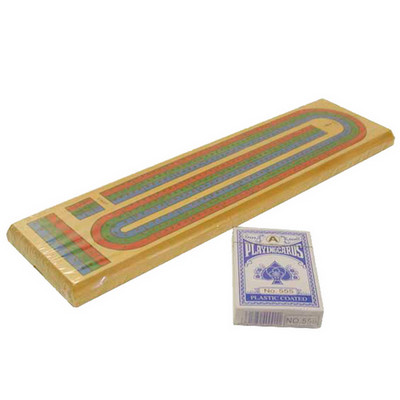 3 Color Track, Solid Wood Cribbage Board with Playing Cards Set